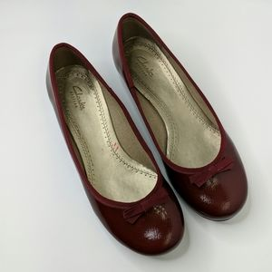 Clarks Artisan Deep Red Patent Leather Flats